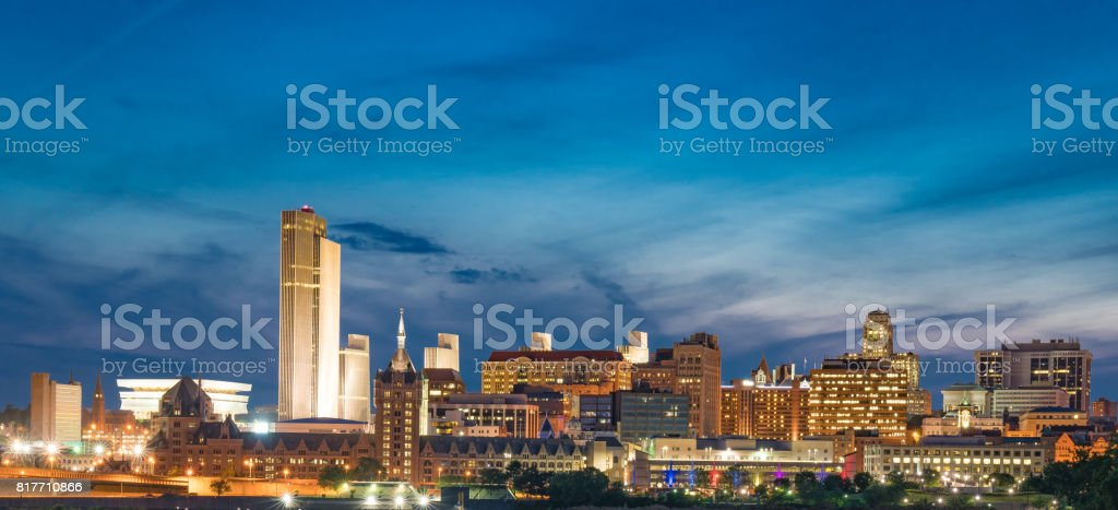 Albany Night Skyline stock photo