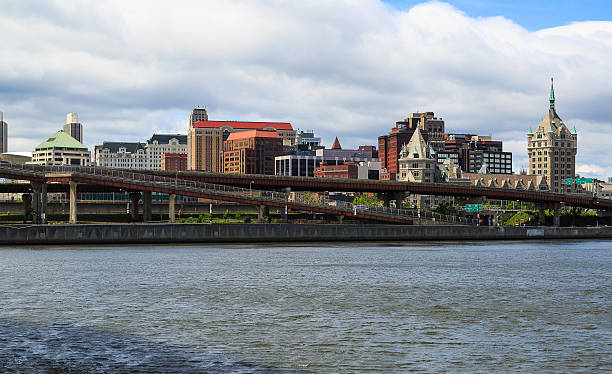 Albany NY from across the Hudson River in Rensselaer stock photo