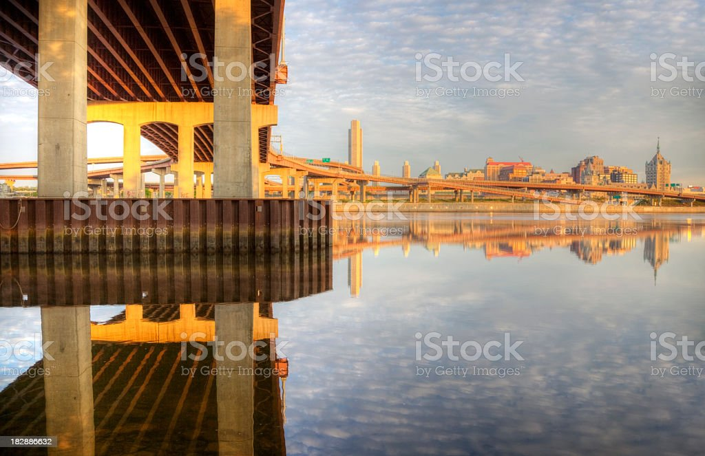 Albany reflecting on the Hudson River stock photo