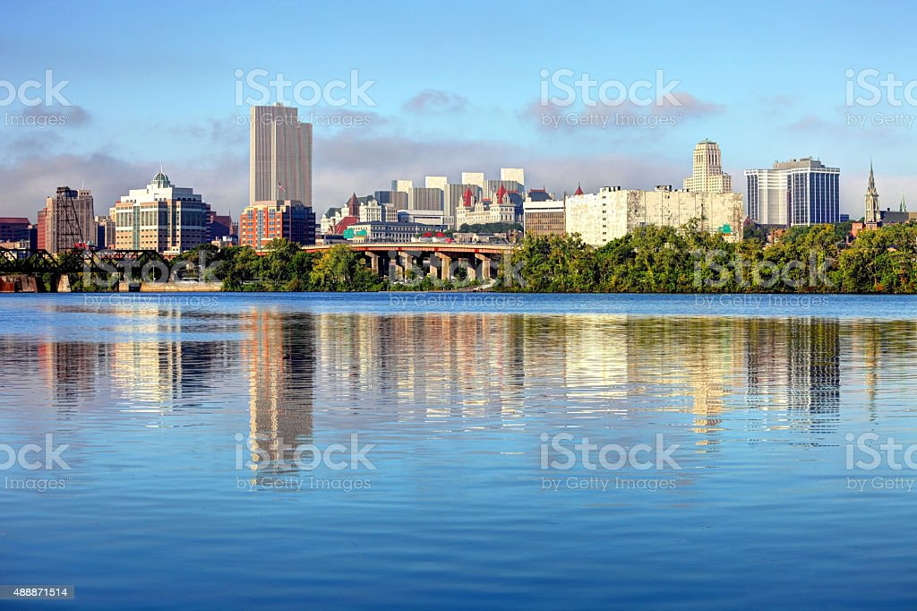 Albany Skyline along the banks of the Hudson River stock photo
