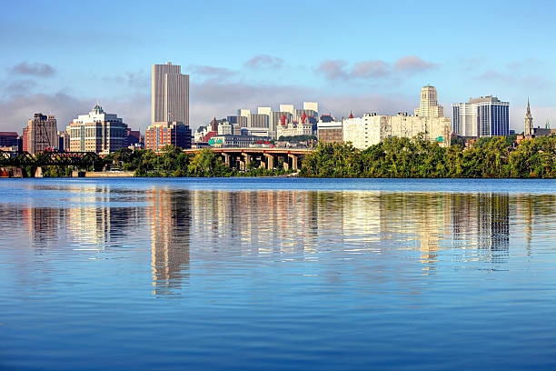 Albany Skyline along the banks of the Hudson River Albany is the capital city of the US state of New York and is known for its culture, history, architecture, and institutions of higher education albany new york state stock pictures, royalty-free photos & images