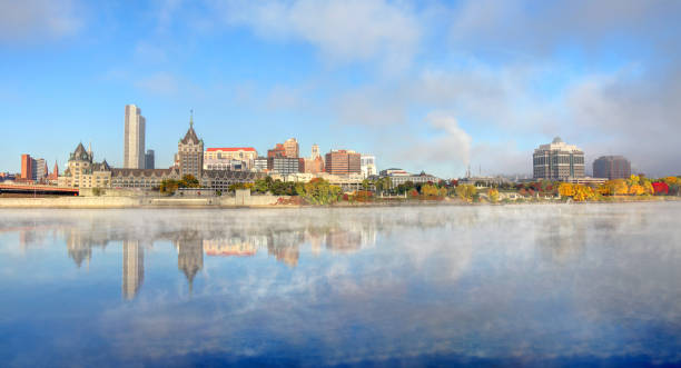 Albany Skyline along the Hudson River Albany is the capital of the U.S. state of New York and the seat of Albany County. albany county new york state stock pictures, royalty-free photos & images