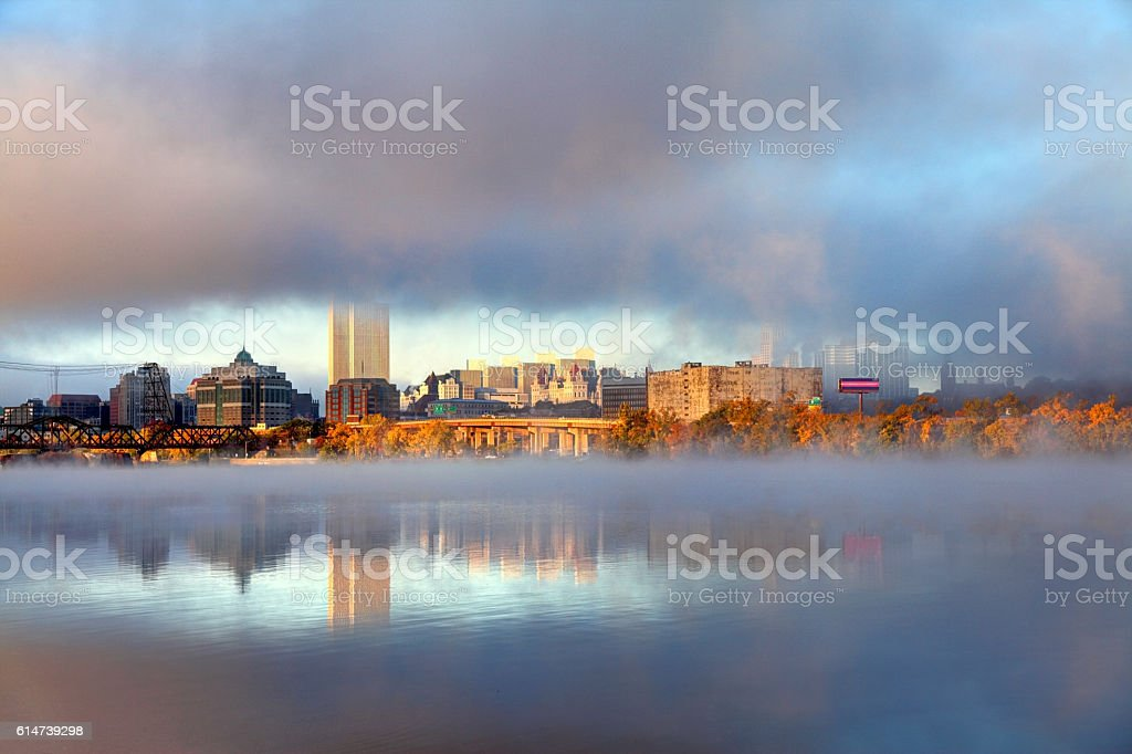 Albany Skyline along the Hudson River Shrouded in Fog stock photo