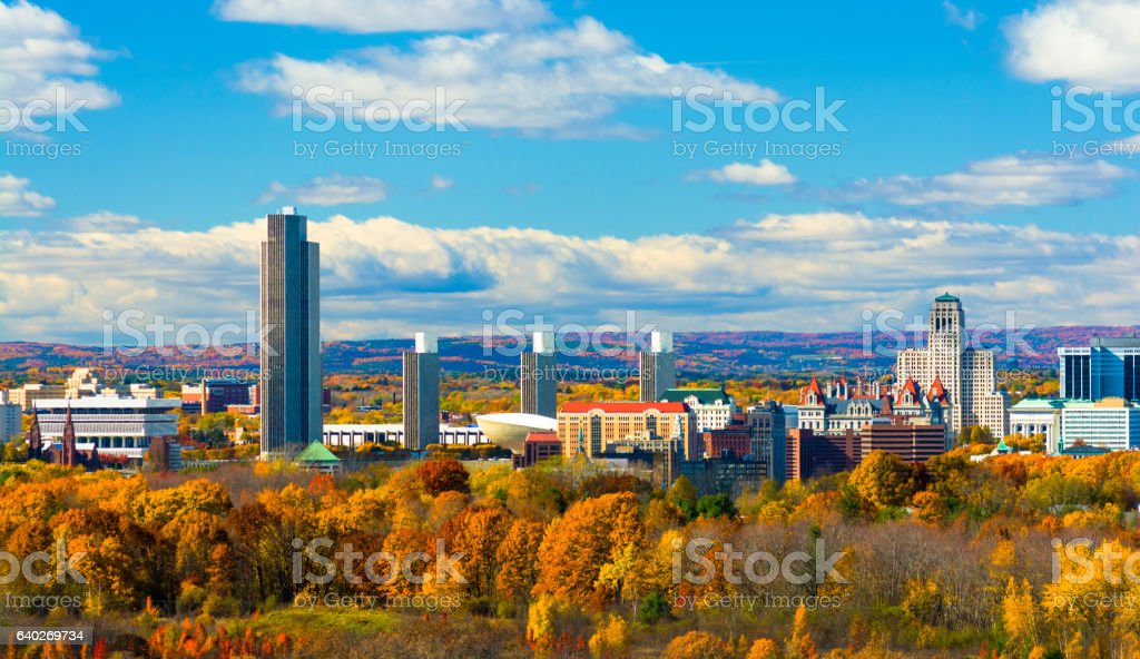 Albany Skyline with Autumn Colored Trees stock photo