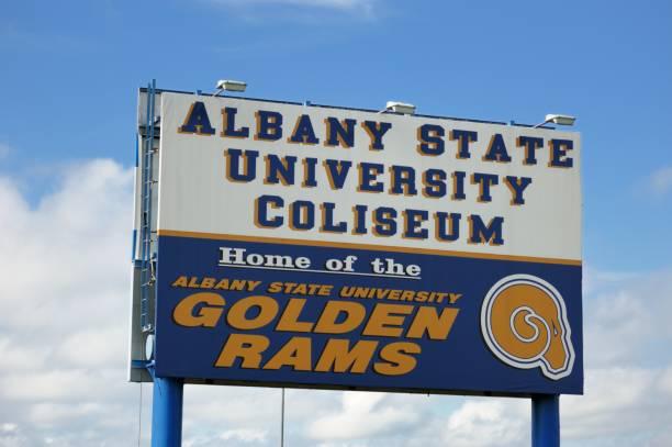 Albany State University Coliseum sign stock photo