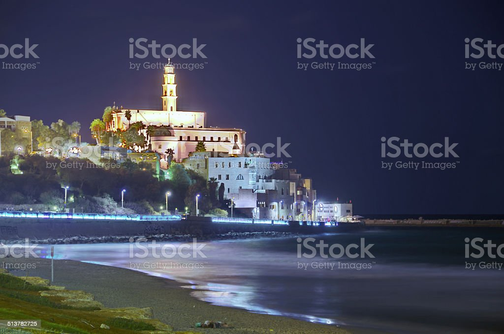 Al-Barh Mosque at night in Jaffa, Israel stock photo