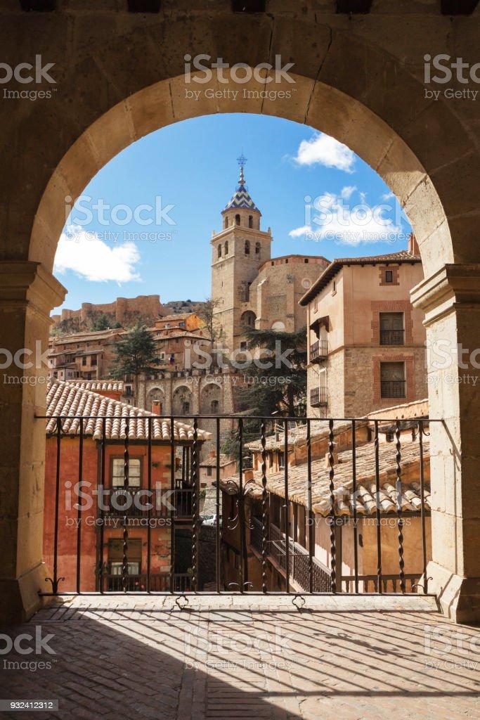 Albarracin, Aragon, Spain. Framed view of medieval city Albarracin in december. stock photo