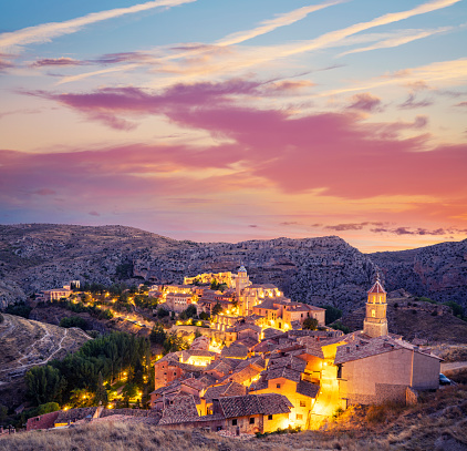 Albarracin skyline at sunset in Teruel of Aragon declared one of the most beautiful villages in Spain