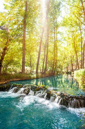 Albarracin Turia river also Guadalaviar in autumn golden trees of Sierra de albarracin area in Teruel Aragon Spain