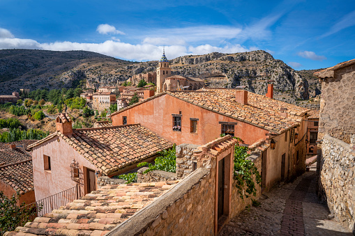 Albarracin village streets in Teruel Aragon declared one of the most beautiful villages in Spain