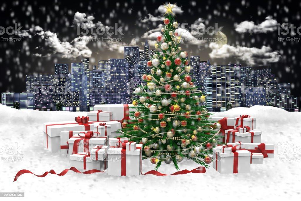 Albero Di Natale Regali.Albero Di Natale Decorato E Regali Sotto La Neve Sfondo Cittan Stock Photo Download Image Now Istock