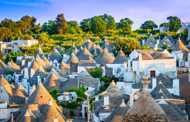 Alberobello, Puglia, Italy: Cityscape over the traditional roofs of the Trulli, Apulia stock photo
