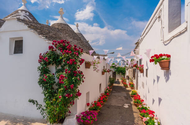 Alberobello (Italy) - The white town of Trulli stock photo