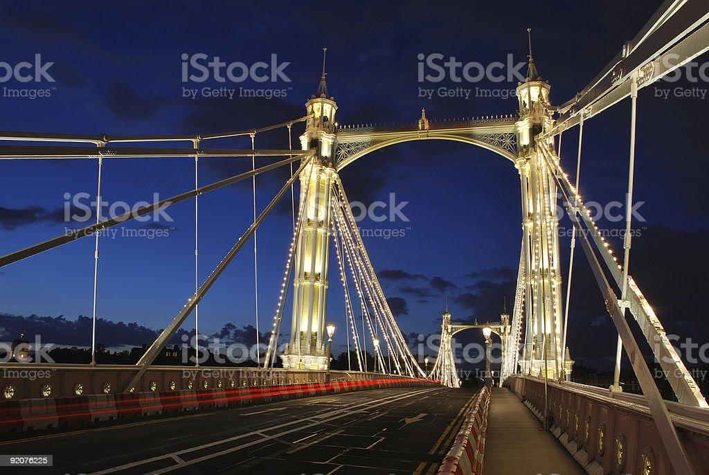 Albert Bridge at night stock photo