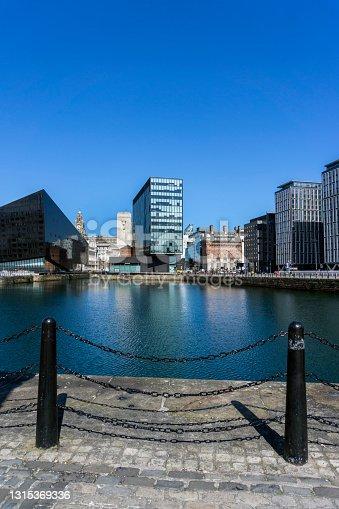 View across the Albert Dock in the center of Liverpool, UK.