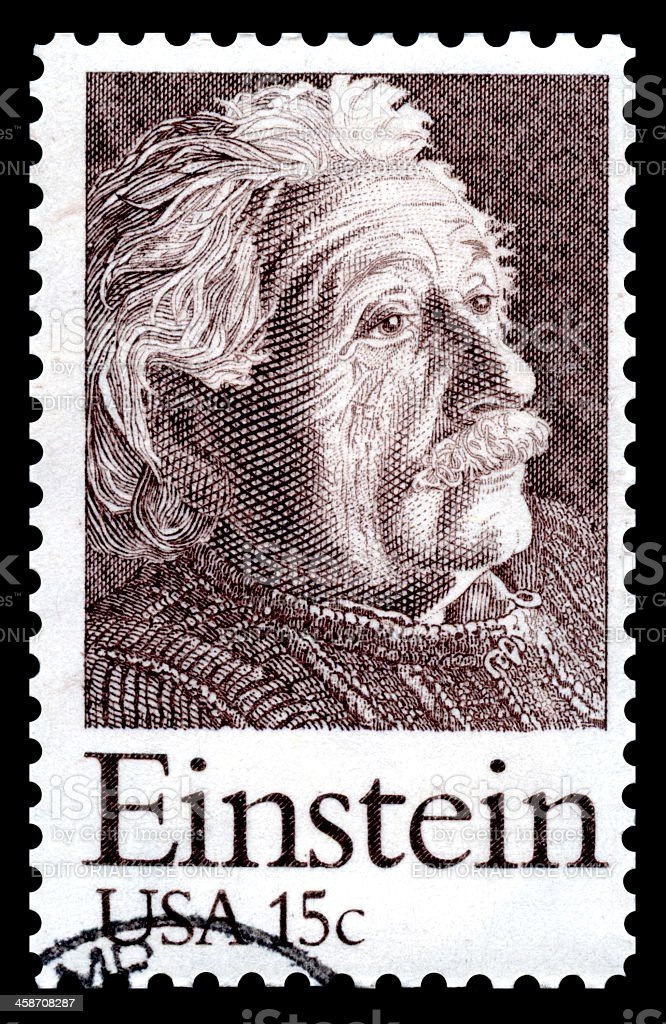 Albert Einstein USA postage stamp stock photo