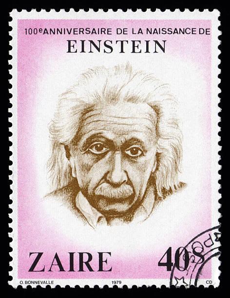 albert einstein zaire sello postal - e=mc2 fotografías e imágenes de stock
