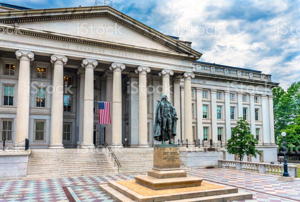 Albert Gallatin Statue US Flag US Treasury Department Washington DC stock photo