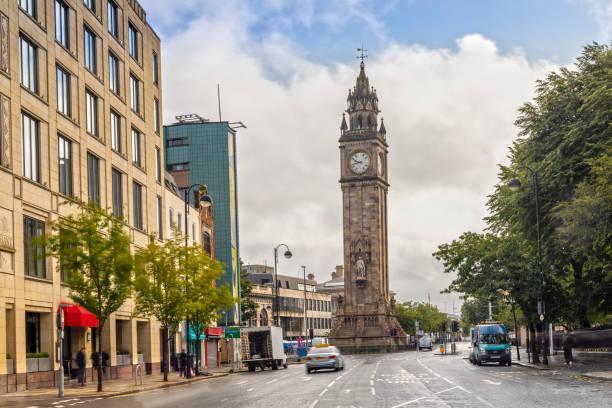 Albert Memorial Clock Tower in Belfast, Northern Ireland stock photo