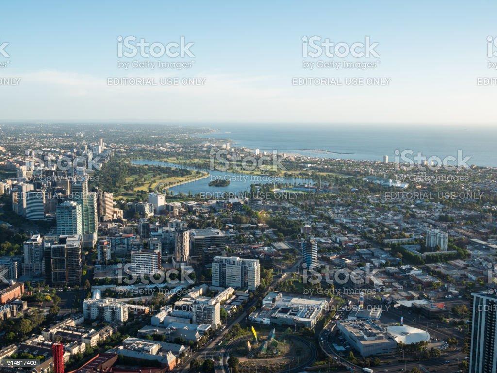 Albert Park Lake in the bayside suburb of Albert Park in Melbourne. stock photo