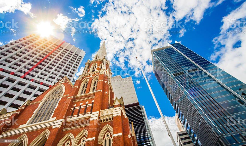 Rua Albert unindo Igreja Brisbane Queensland Austrália - foto de acervo