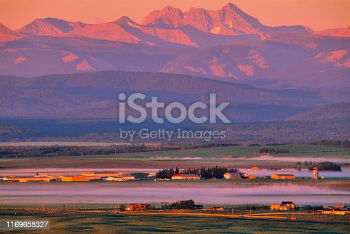 Farm in the rocky mountain foothills of rural Alberta Canada