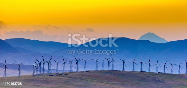 Windfarm in rural Alberta Canada