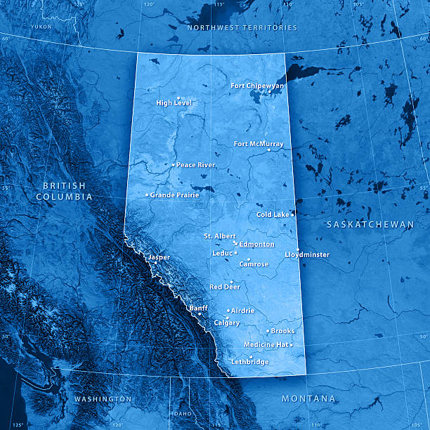 Alberta Cities Topographic Map stock photo