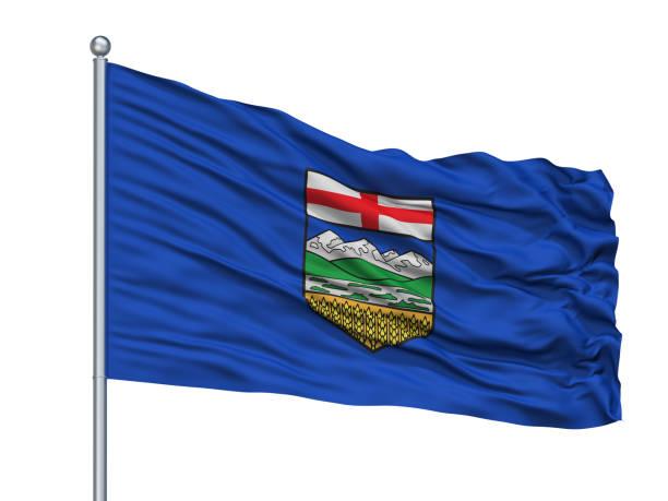 Alberta City Flag On Flagpole, Canada, Isolated On White Background stock photo