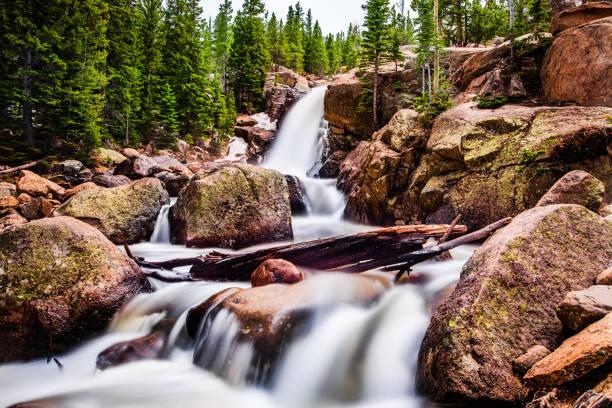 alberta falls - estes park foto e immagini stock