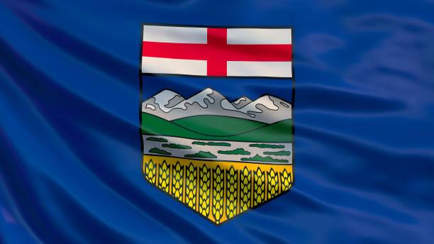 Alberta flag. Waving flag of Alberta province, Canada. 3d Illustration stock photo