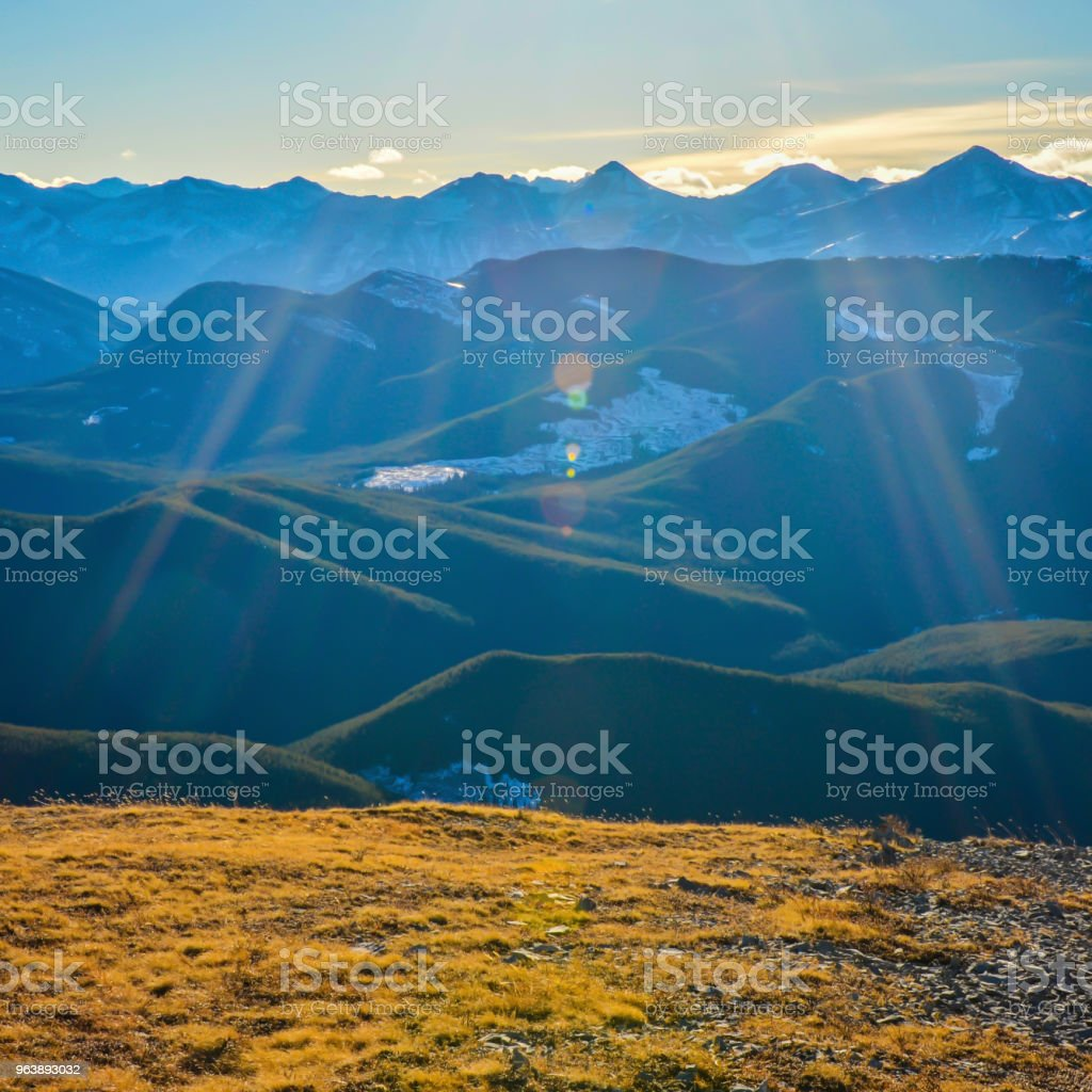 Alberta Mountain Landscape with Lens Flare - Royalty-free Adventure Stock Photo