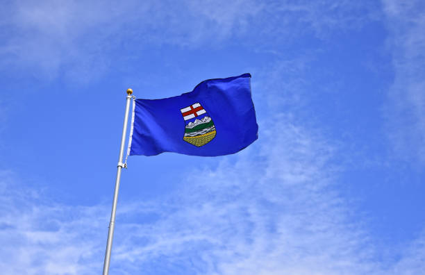 Alberta Provincial Flag stock photo