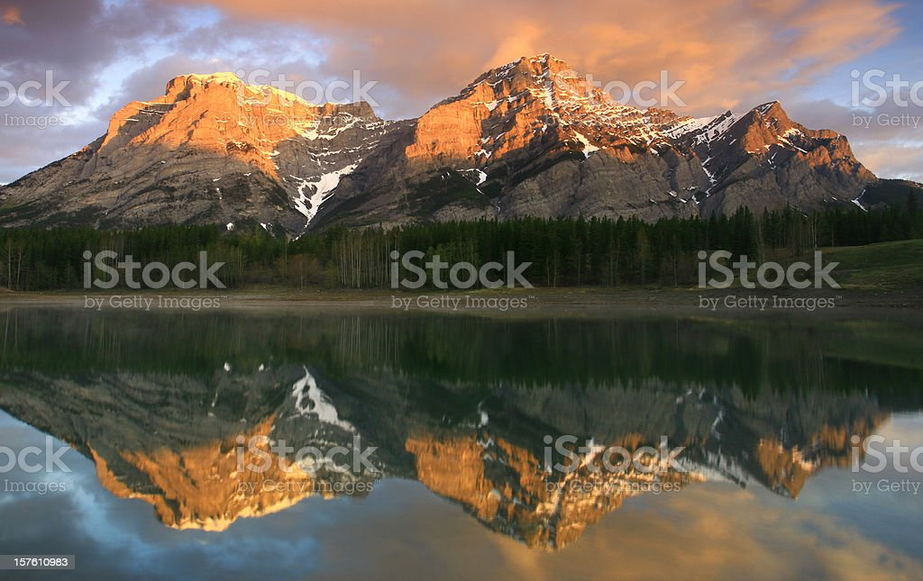 Alberta Rockies Mountain Reflection royalty-free stock photo