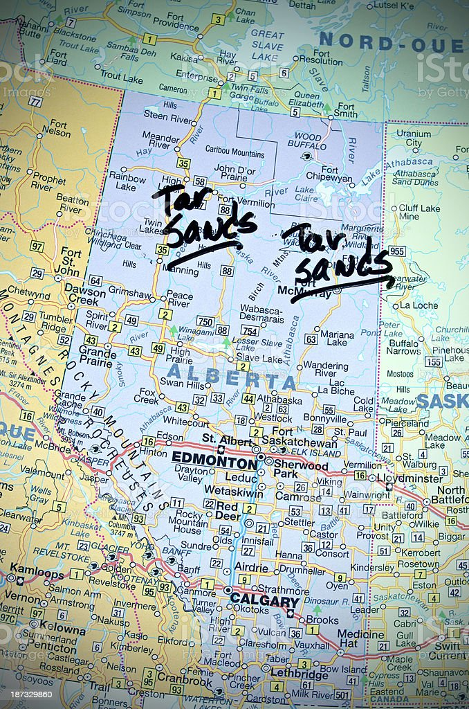 Alberta Tar Sands  on the Map stock photo