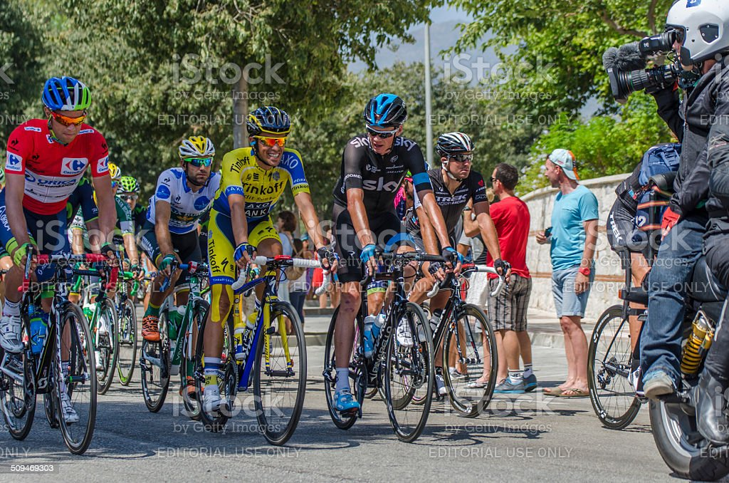 Alberto Contador and Chris Froome talking stock photo