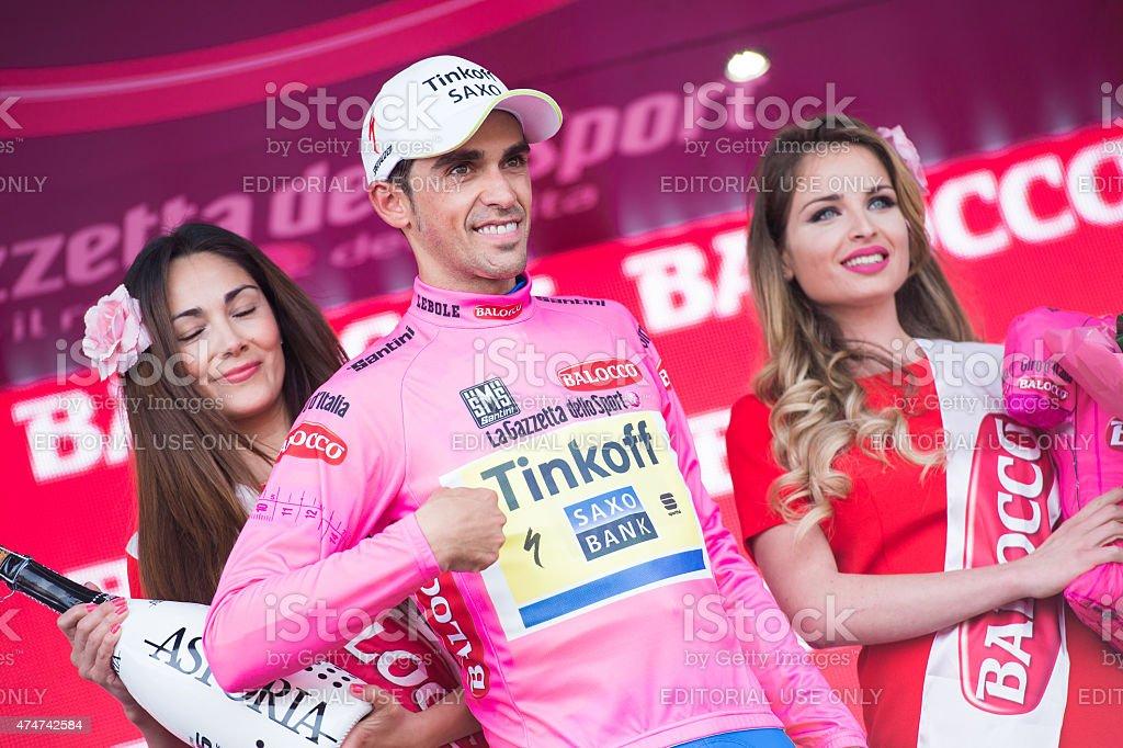 Alberto Contador at giro d'italia stock photo