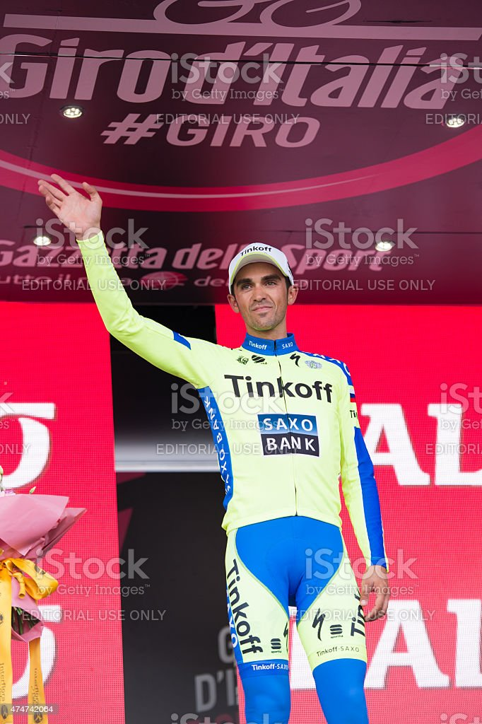 Alberto Contador team saxo tinkoff stock photo