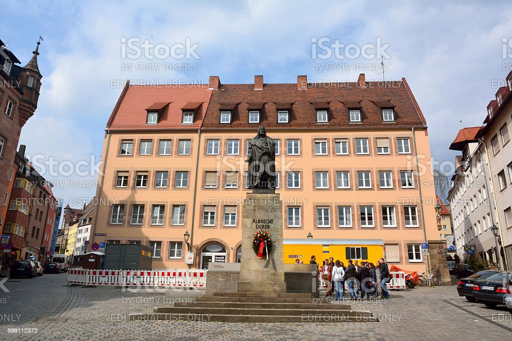 Albrecht-Durer-Platz  square in Nuremberg stock photo