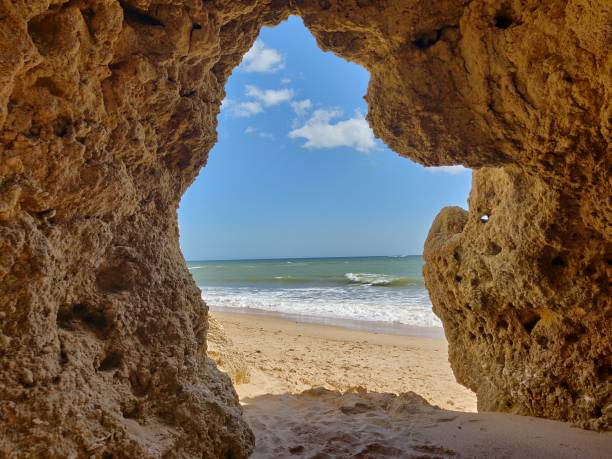Albufeira beach  natural cave. stock photo