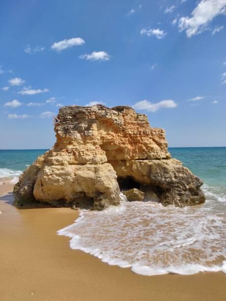 Albufeira beach natural rock. stock photo