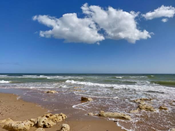 Albufeira beach water's edge. stock photo