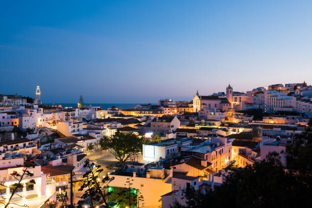 Albufeira`s Old Town at Night, Algarve, Potugal stock photo
