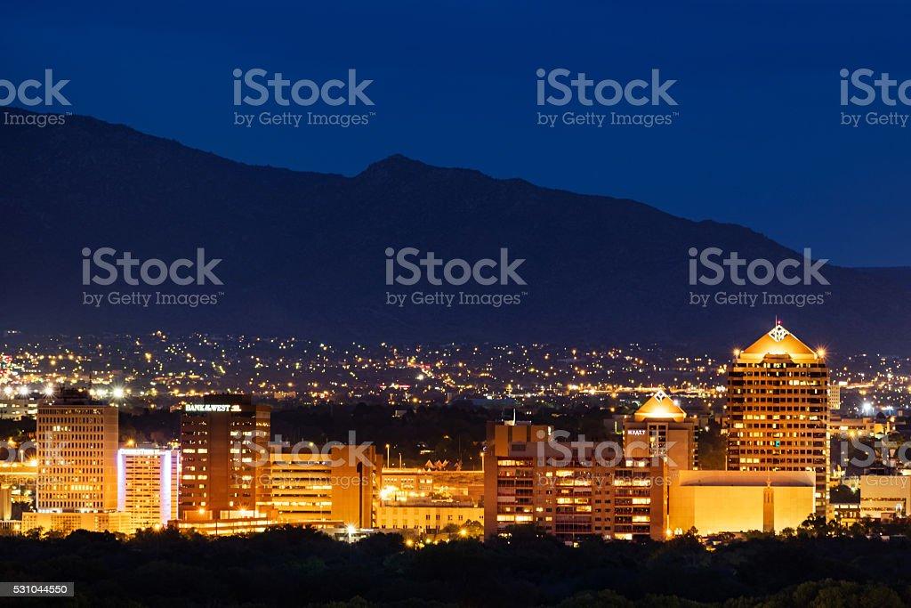Albuquerque Cityscape at Night New Mexico stock photo