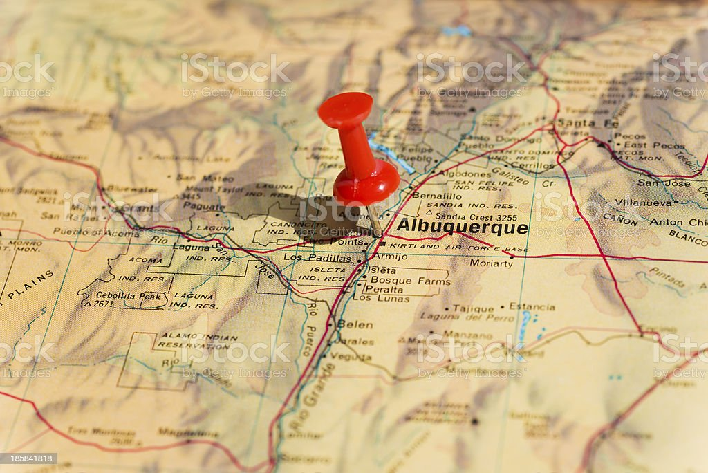 Albuquerque Marked on Map with Red Pushpin stock photo