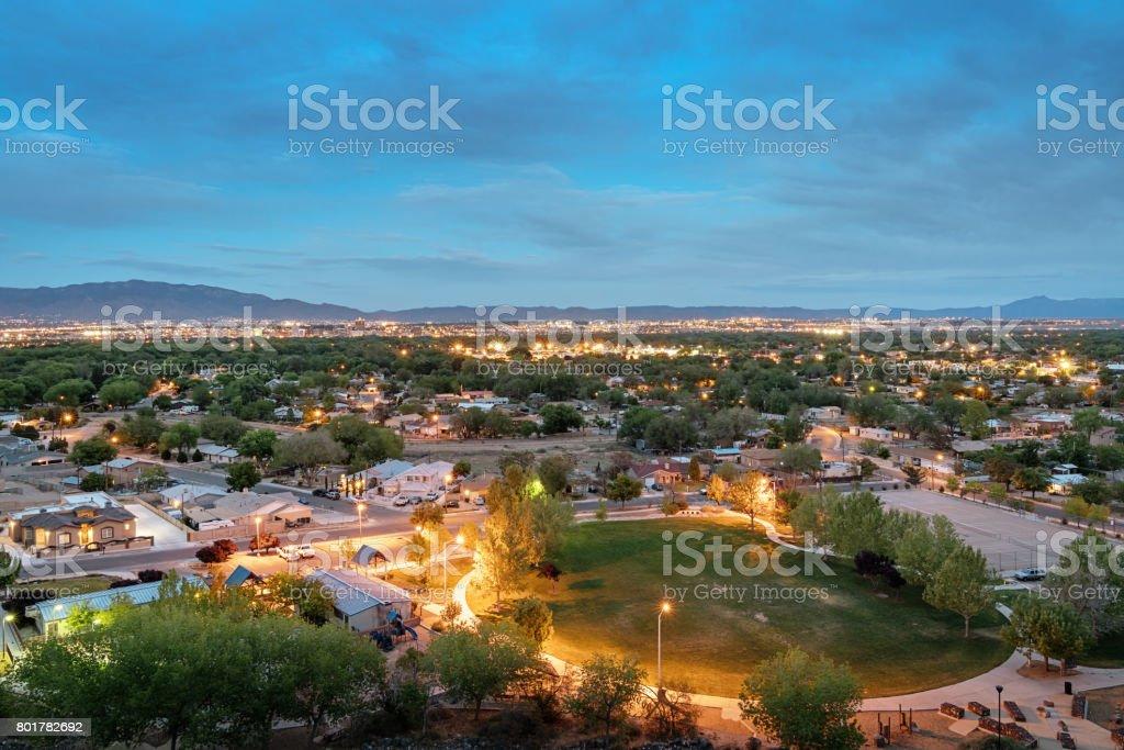Albuquerque New Mexico at Night stock photo