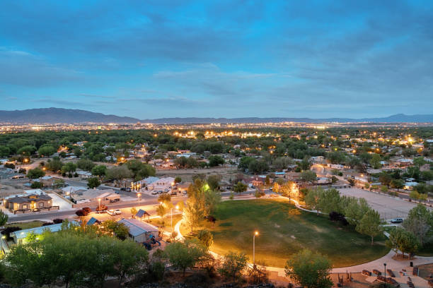 Albuquerque New Mexico at Night stock photo