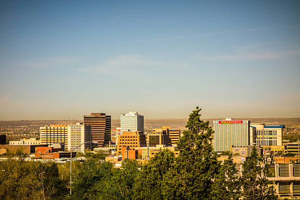 albuquerque new mexico skyline of downtown stock photo