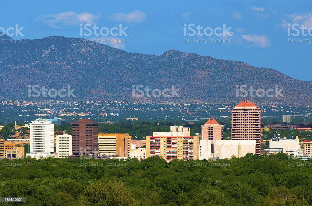 Albuquerque skyline and mountains royalty-free stock photo