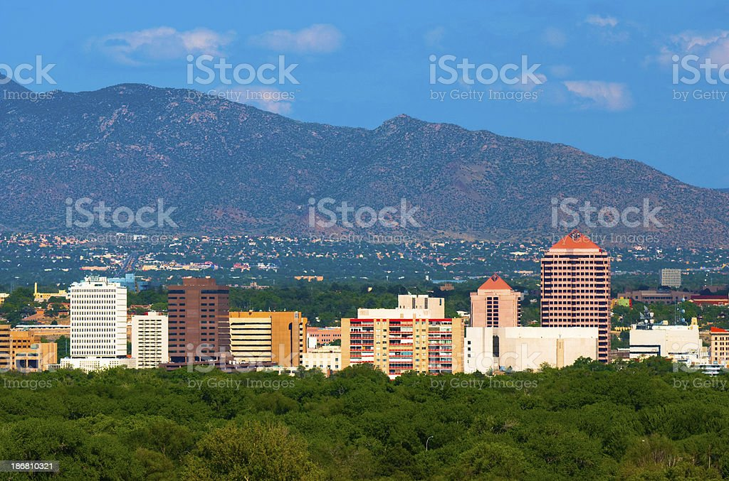 Albuquerque skyline and mountains stock photo
